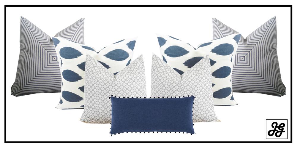 Blue and gray farmhouse pillows