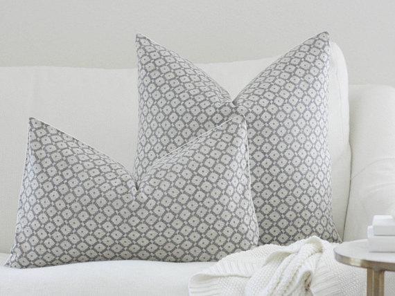 diamond gray and white pillow