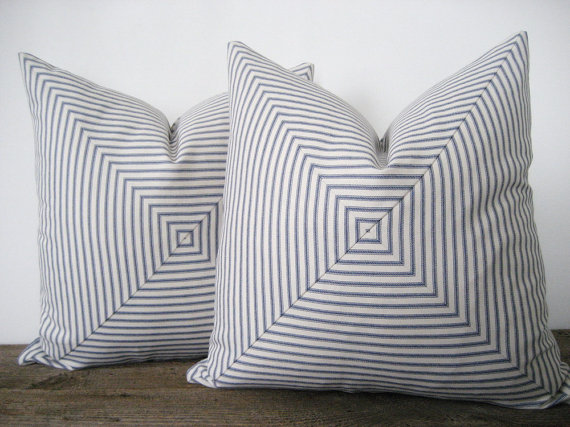 Blue and gray square stripe pillow