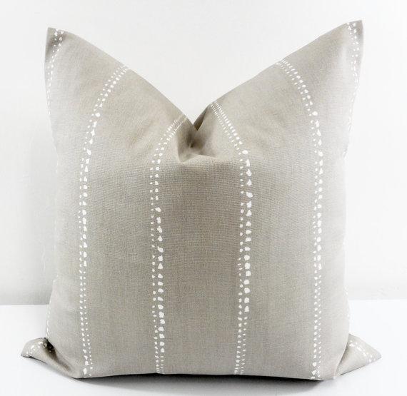neutral stripe pillow