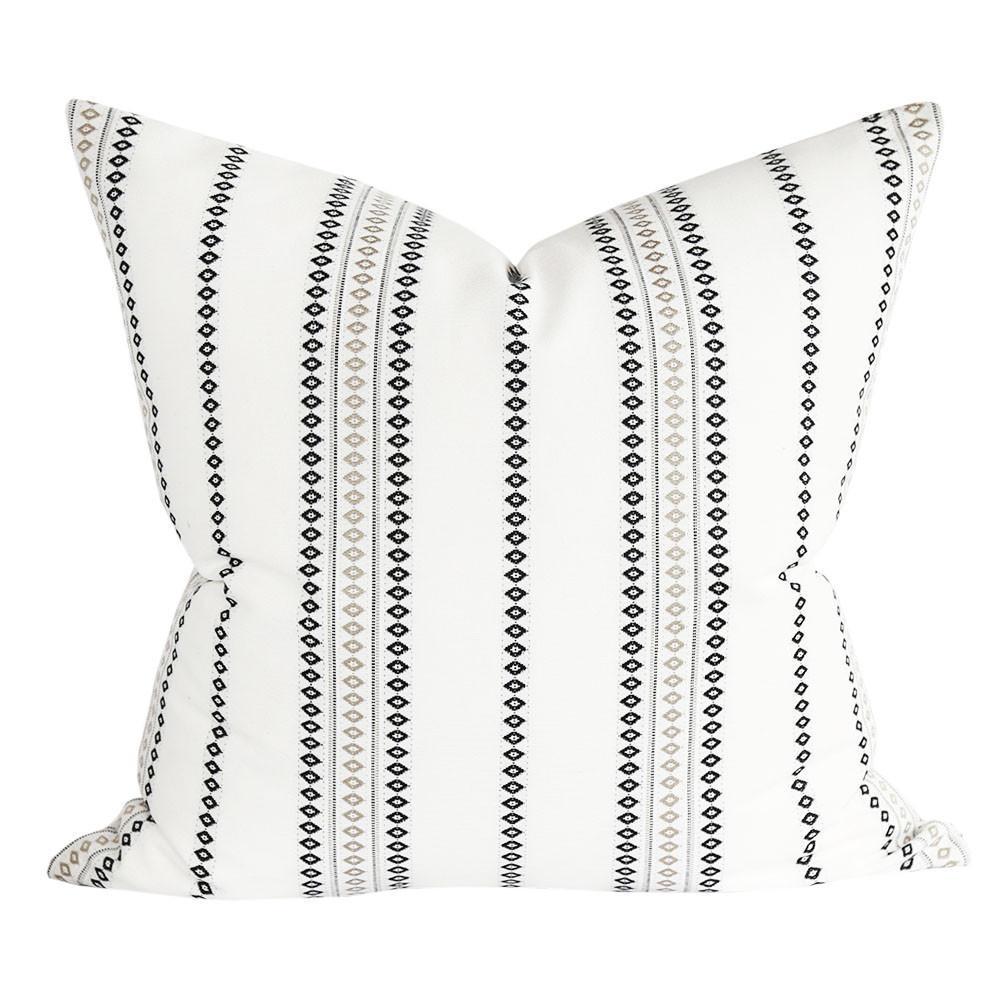 boho stripe pillow black and white