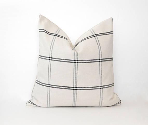 cream plaid pillow cover