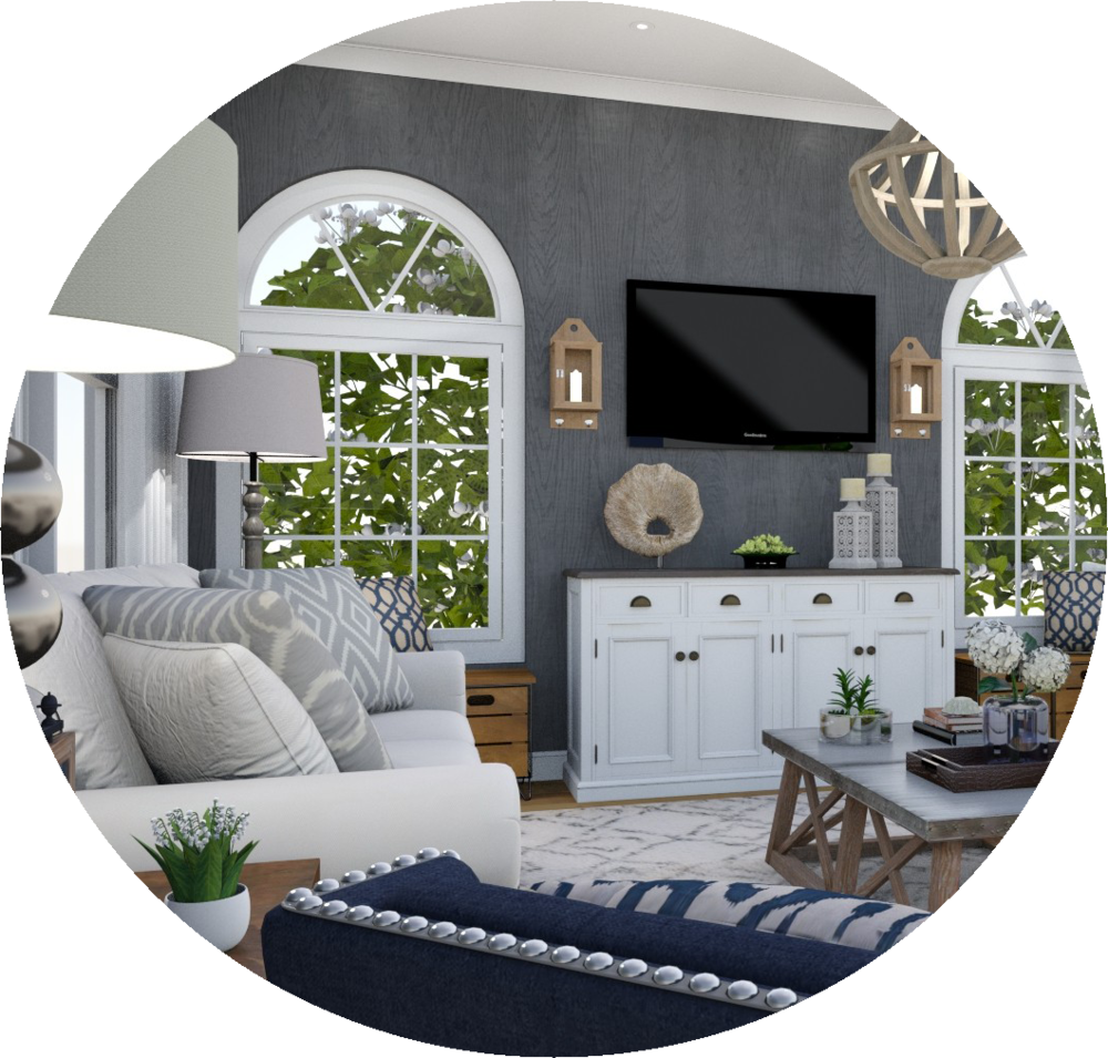Full Service E-Design - This package has it all! You get an initial mood board, floor plan, shopping list, set up instructions, complementary ordering service and a 3D render so you can visualize everything together and see exactly how to put it together. And we do this all online, on your schedule!