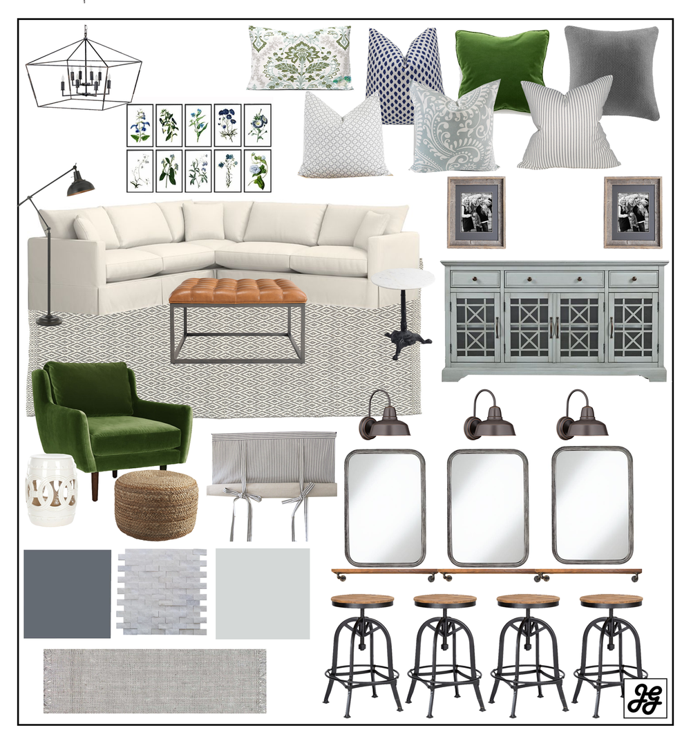 modern farmhouse green living room