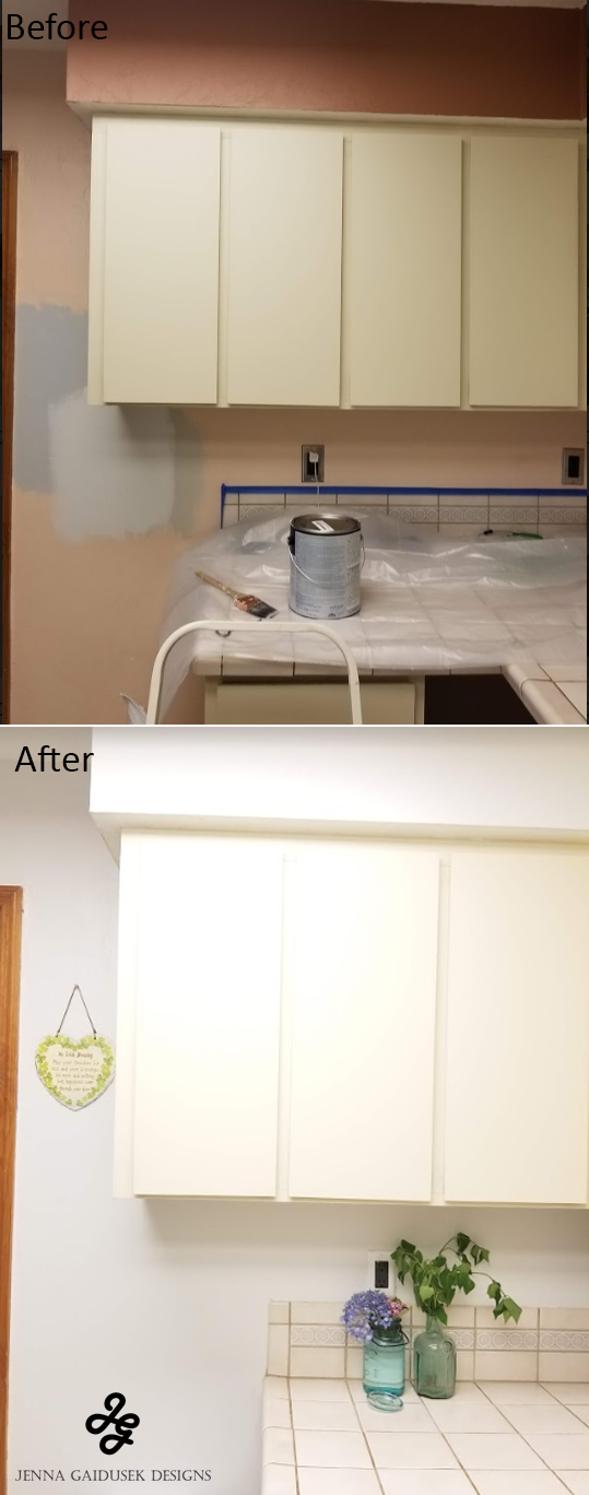 Paint before and after HGTV sherwin williams nebulous white