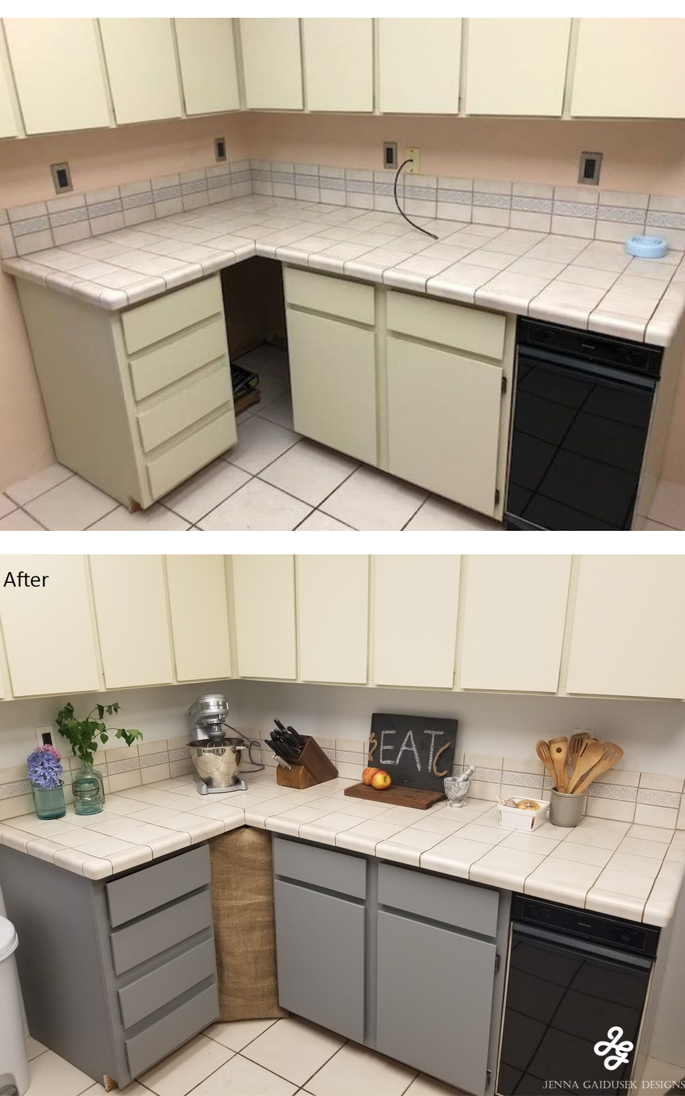 Before and after Kitchen DIY updates Painting kitchen HGTV Sherwin Williams Nebulous white peel and stick wallpaper