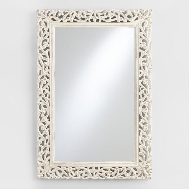 World Market- Segovia Whitewashed Mirror
