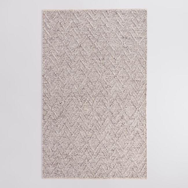 World Market-Ivory And Brown Chunky Sweater Seren Area Rug