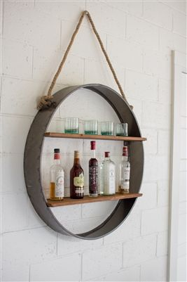 Unlimited Home Decor-  Circle Iron And Wood Hanging Wall Shelf
