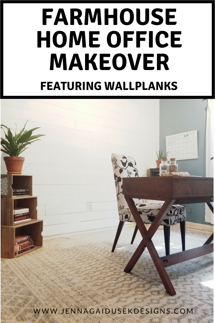 Check out my DIY modern farmhouse home office makeover! Peel and stick wallplank panels create a beautiful white shiplap accent wall! I accented the white shiplap with Sherwin Williams HGTV Splendor Blue paint to make the space more vibrant and playful. I added pops of greenery to liven up the space and a beautiful boho farmhouse rug from Boutique rugs!This farmhouse office is my farmhouse styled space where I am a work from home mom and online interior designer!