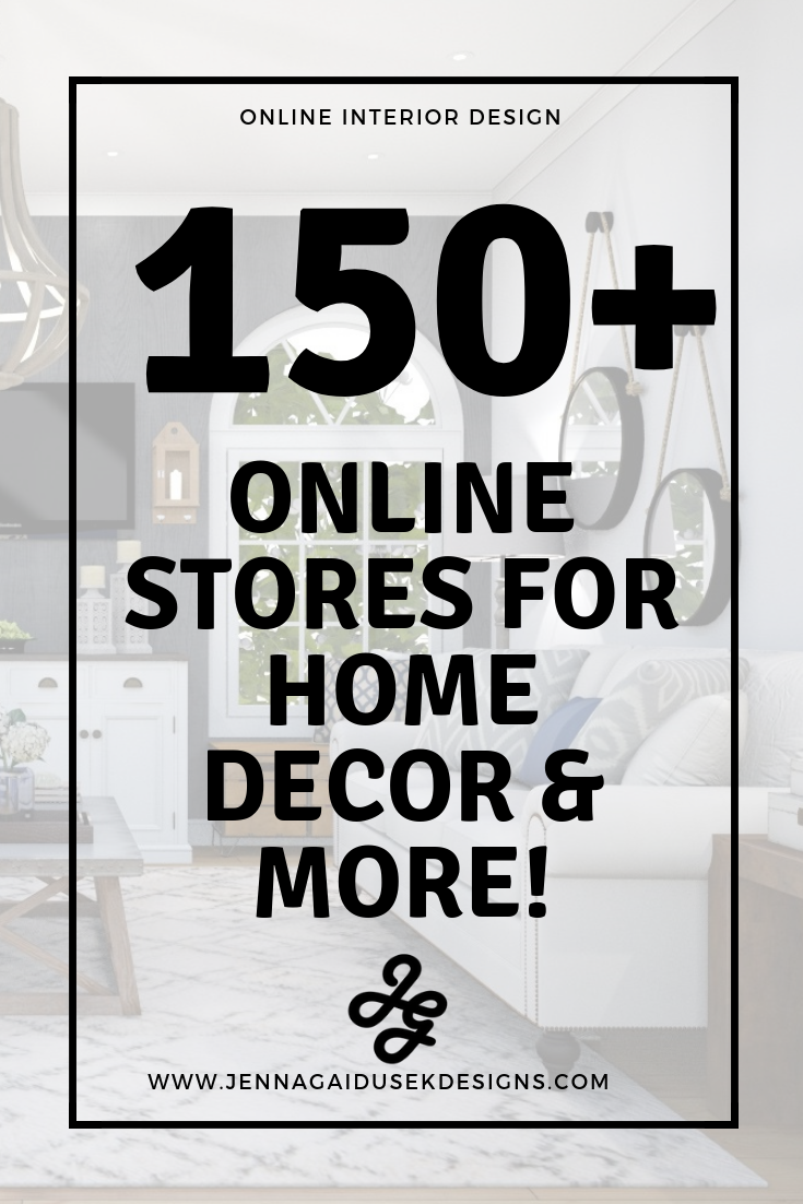 Get your free list of 150+ Online Stores for Home Decor & More! Are you redecorating your living room, dining room, bedroom? Check out my ever growing list of home decor stores to complete your room refresh project. Designer picks for home decor stores, decorating your new house, living room ideas, new house, coastal decor, bedroom decor, home decor inspiration, home decorating ideas, farmhouse decor, modern decor, contemporary decorating. #interiordesign #wayfair #onlineinteriordesign