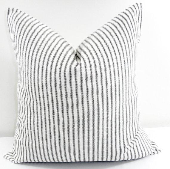 Stripe farmhouse pillow