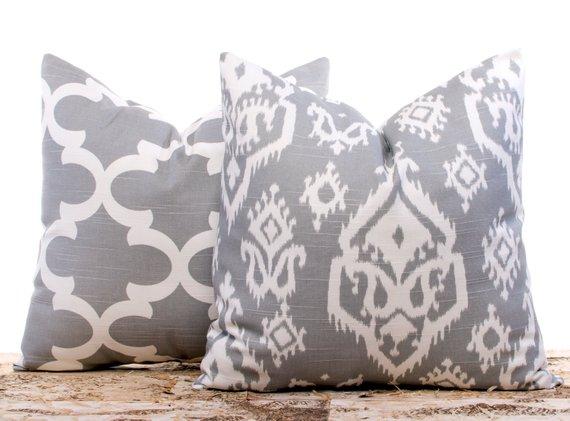 Gray ikat pillow cover