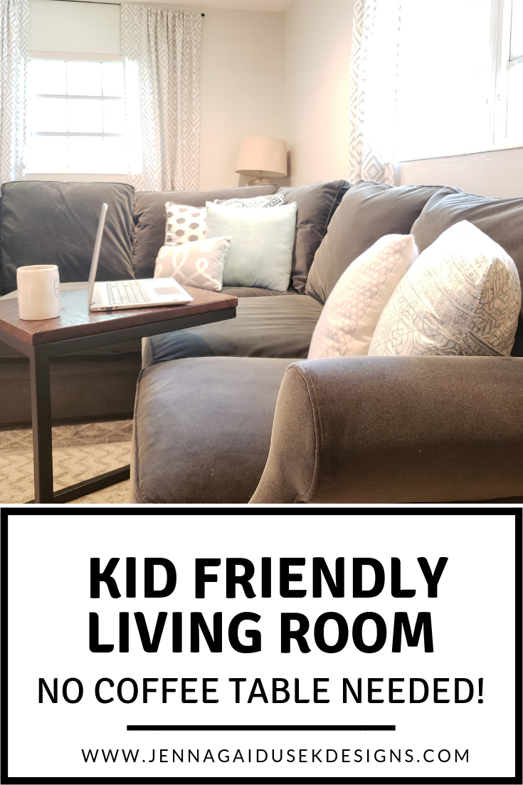 YOU REALLY DON'T NEED A COFFEE TABLE IN YOUR LIVING ROOM! My kid friendly neutral farmhouse living room! You can create beautiful refined farmhouse living room that is functional and works for your busy family. Check out my before and after rental living room. coastal living room ideas, transitional family friendly living room, large gray sectional, kid friendly sectional, sofa, charcoal sofa, gray and white decor, blue and teal pillows, etsy pillows, modern farmhouse decor.