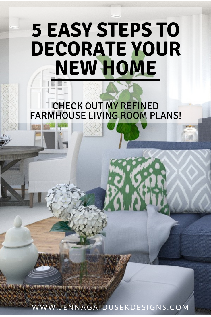 New House Decorating Ideas! 5 easy steps to decorate your new home. Make moving so much easier and slowly design in layers and watch your house get cozier and more homey with every layer you add! Check out my online interior design help as well!. New House, Easy design tips. #farmhouse #fixerupper #decorate #coastaldecor #home #moving home decorating ideas kid friendly sectional, sofa, charcoal sofa, gray and white decor, blue and teal pillows, etsy pillows, modern farmhouse decor.