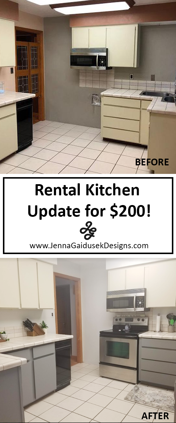 Before and after rental kitchen. Update your kitchen for under $200!Add Peel and stick wallpaper on Cabinets- before and after of kitchen updates on a budget. $200 kitchen updates with paint and contact paper. Gray farmhouse decor. Coastal farmhouse. DIY Decorating. Online interior design. Design blog. kitchen decor, farmhouse kitchen, kitchen cabinets, farmhouse wallpaper. renReDecorate, After Modern Farmhouse Kitchen cabinets.rental home. real estate. update old kitchen, design advice, design help, decor