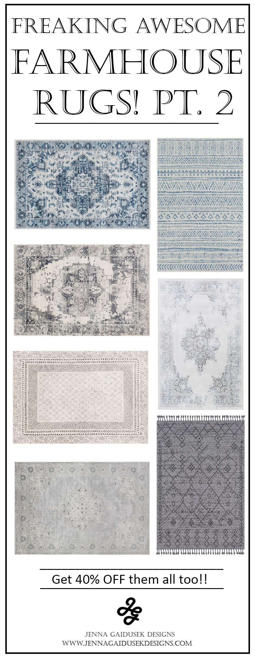 Freaking awesome farmhouse rugs! These are my favorite neutral, family friendly refined farmhouse rugs! I'm in love with the affordable rug prices from Boutique rugs. My favorite medallion area rugs, vintage rugs, blue rugs, patterned rugs. Check out my designer picks and see what works best for your farmhouse living room, dining room rugs, bedroom rugs, runner rugs. The perfect neutral rug colors, blue rugs, gray rugs and pattern rugs. #surya #onlineinteriordesign #edesign Farmhouse interior designer