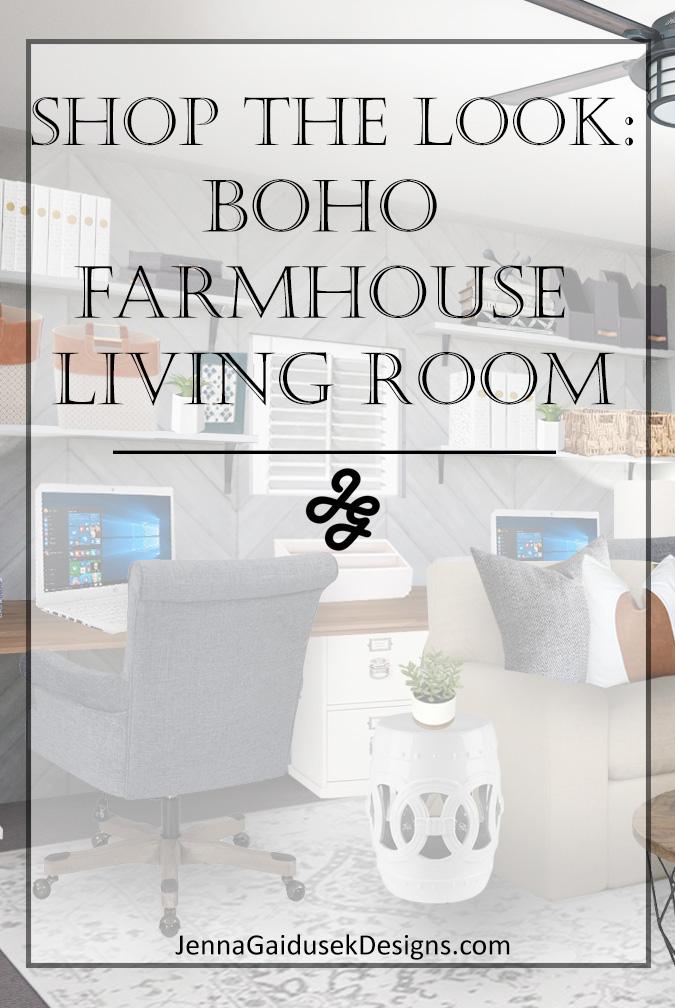 Modern boho farmhouse living room- shop the look