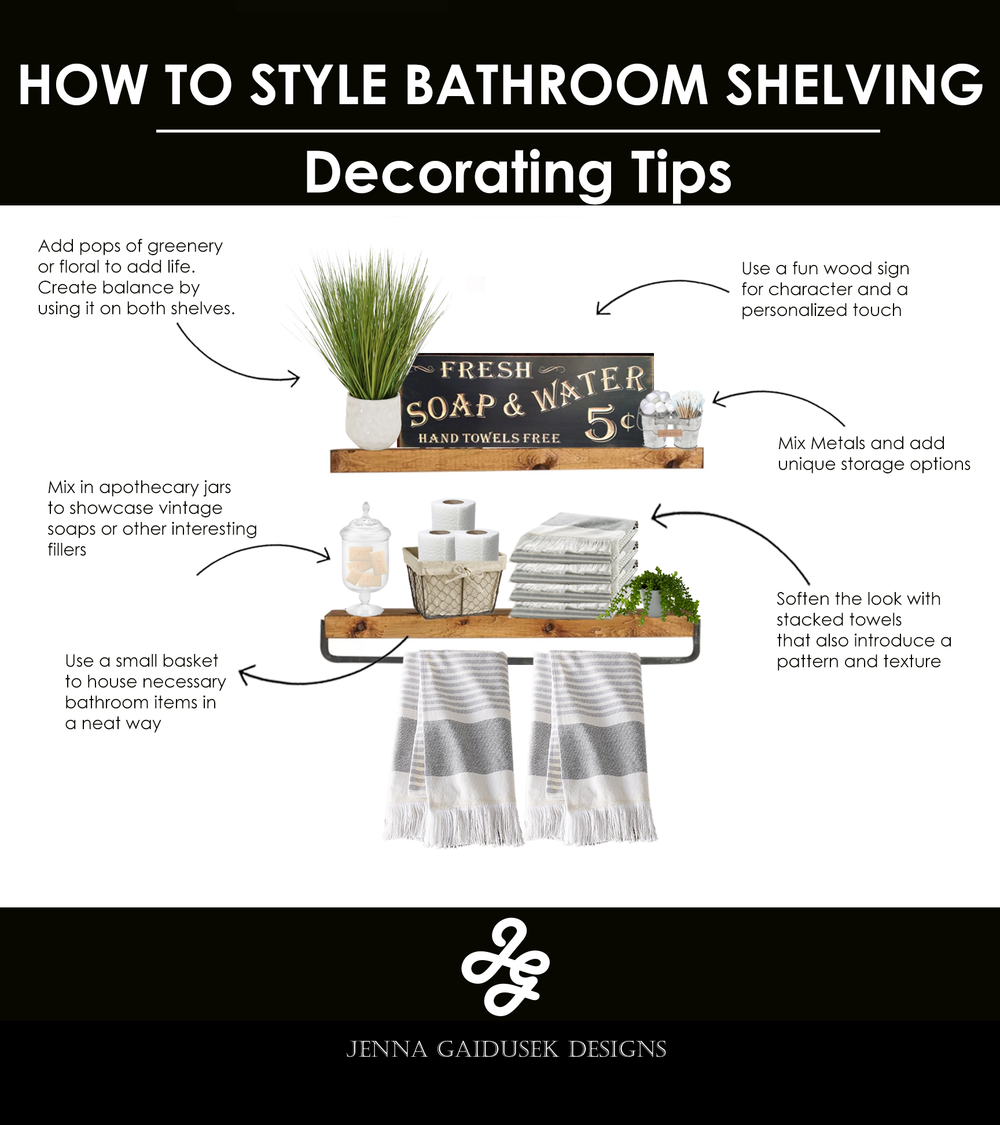 how to decorate your bathroom shelves- farmhouse style!