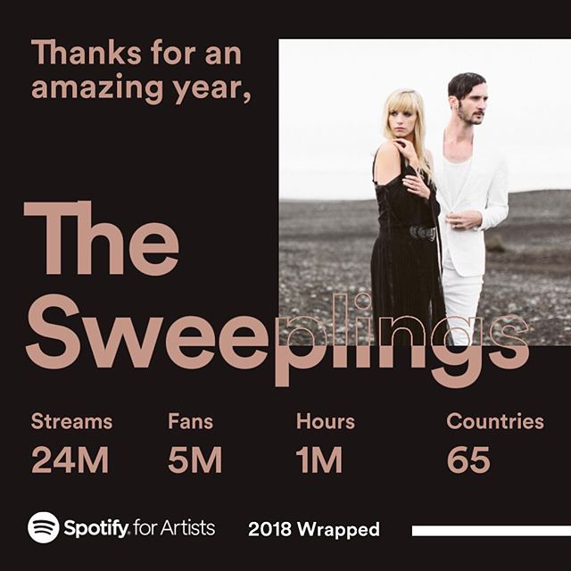 Wow! What a great year with our pals at @spotify! Truly grateful for the support! #thesweeplings #spotify #musiciansofinstagram #folkartist