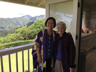 Senator Mazie Hirano with her mother