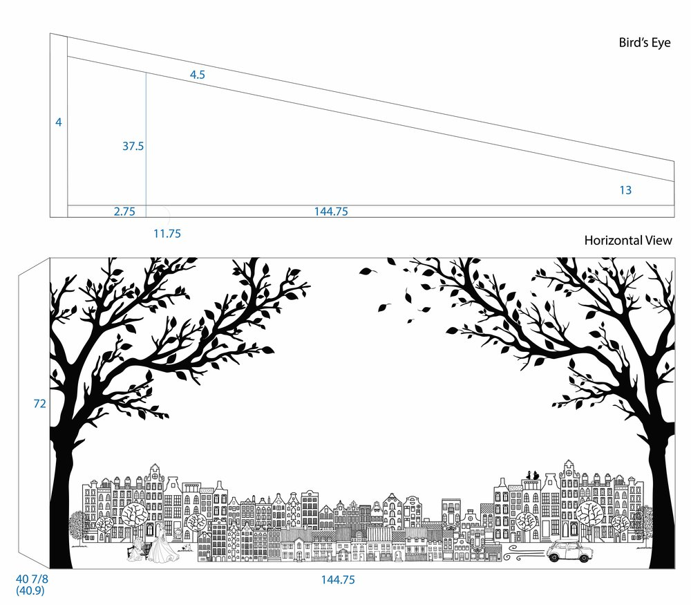 I created different files in order to price the project. This image shows the specs for the laser cut trees.