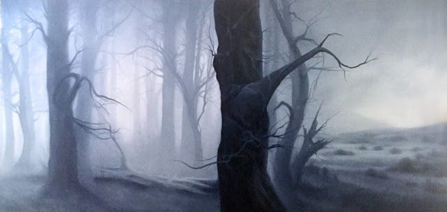 Dawn Waters Baker,   Scarred, Scared, and Sacred   36X72 Oil on Canvas 2018