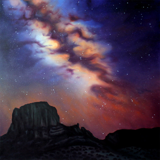 Dawn Waters Baker,   Edge of Heaven   55X55 Oil on Canvas