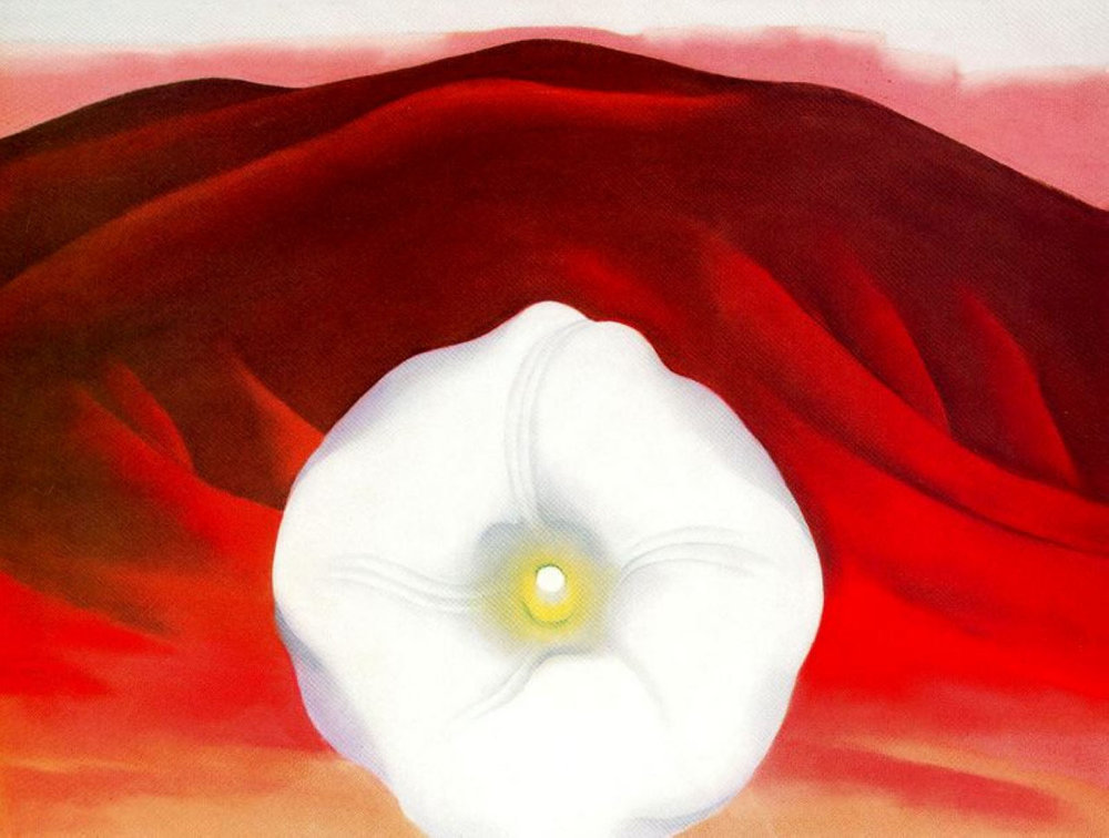 Georgie O'Keeffe,   Red Hills and White Flowe  r 1937