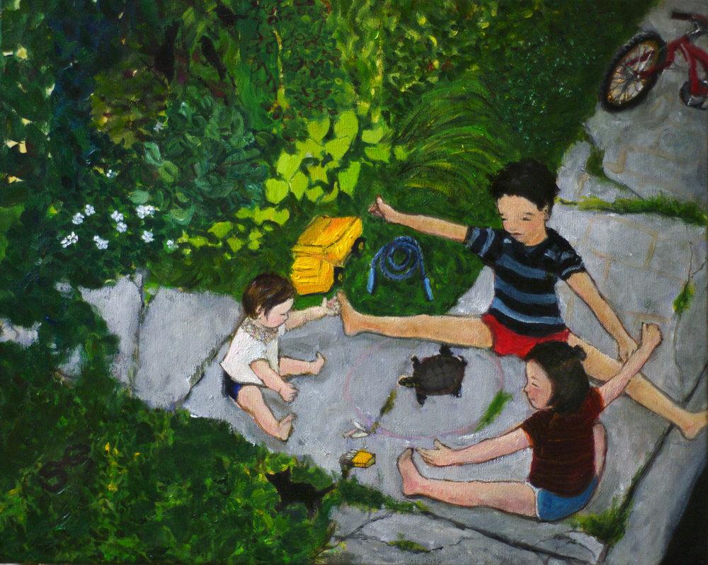 """Sidewalk Games, 16""""X20"""" Oil on Canvas"""