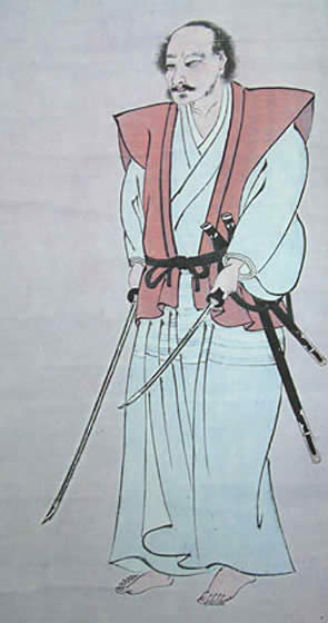 Miyamoto Musashi,   Self-portrait ,   Samurai , writer and artist, c. 1640