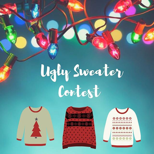 This Wednesday we are having an Ugly Sweater Contest! So wear your sweater to win a prize! Also come ready to play lots of Christmas games! 🎄 See you at 6:30pm! Bring your friends!