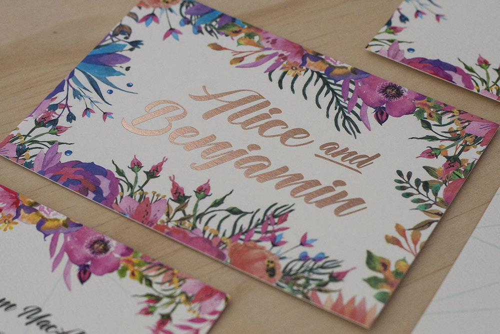 Floral Spring Bright Wedding Invitation Foil