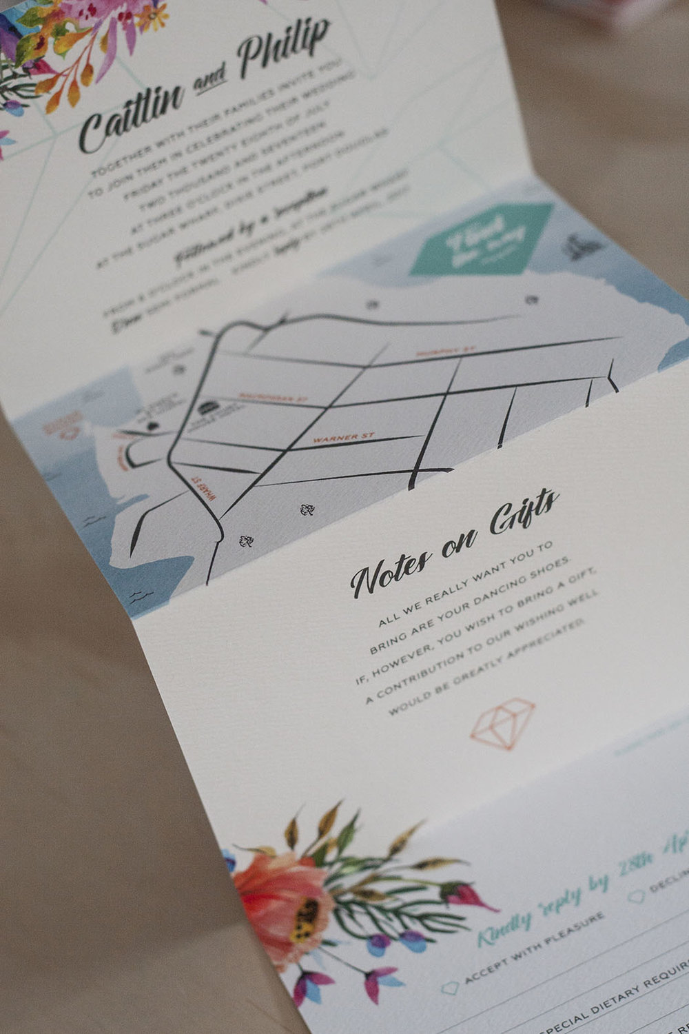 Floral Spring Bright Wedding Folding Wedding Invitation