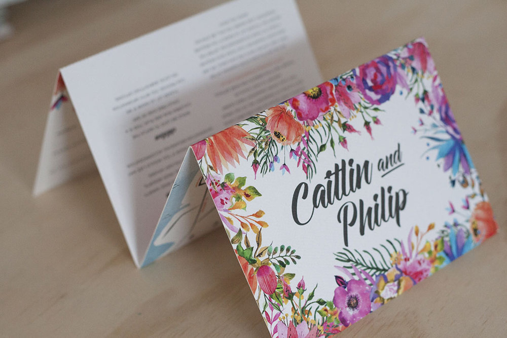 Floral Spring Bright Wedding Folding Invitation