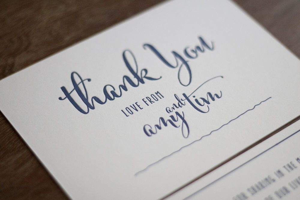 Navy and white wedding thank you script calligraphy letterpress