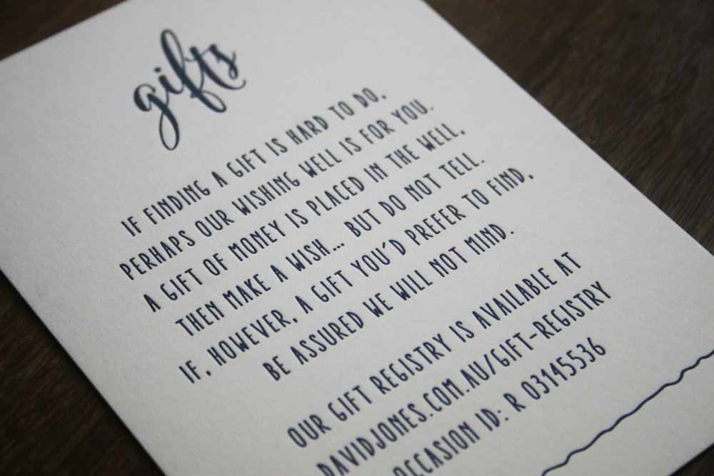 Navy and white wedding gift note script calligraphy letterpress