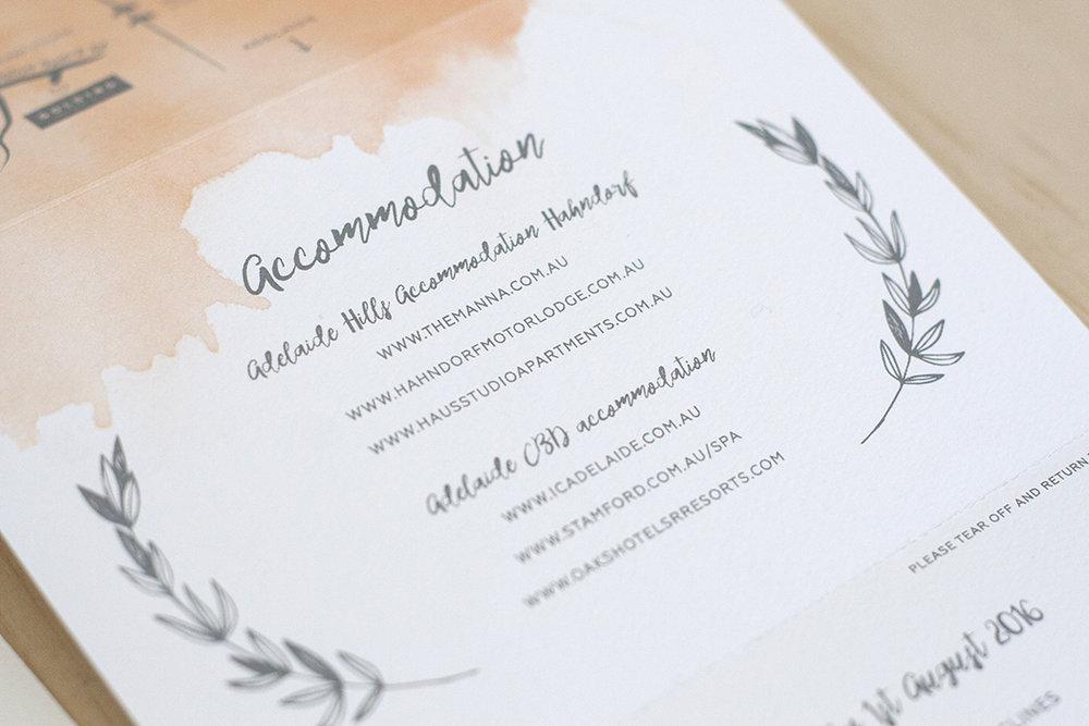 watercolour wedding info card script font