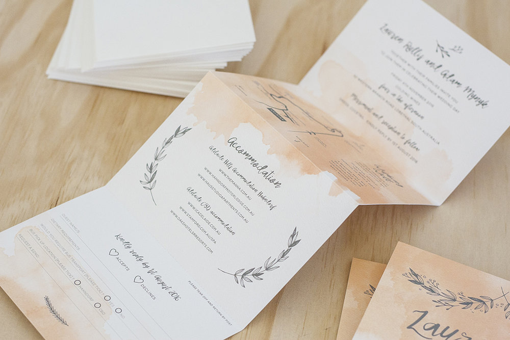 watercolour wedding folding invitation script font