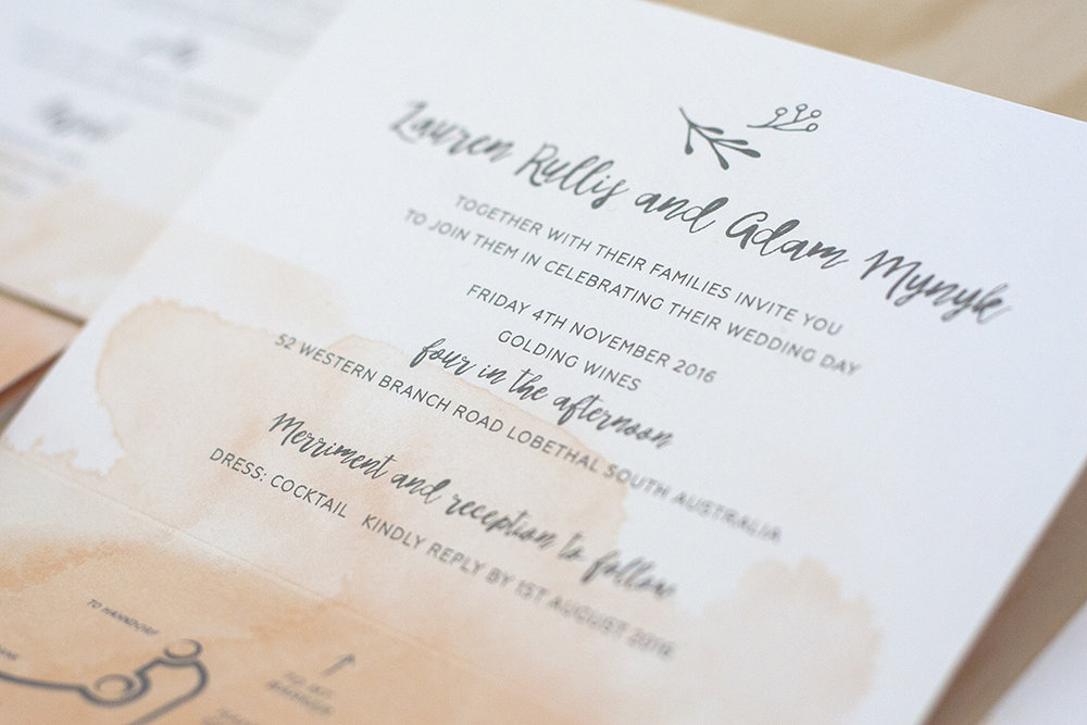 Watercolour Wash Folding Wedding Invitation — Off On My Bicycle ...