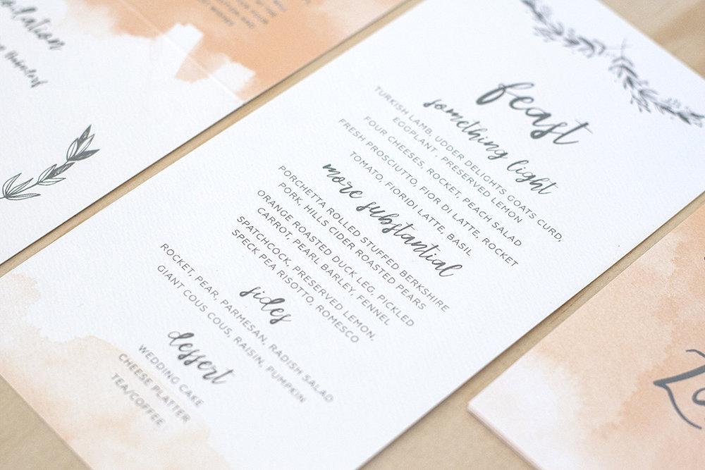 watercolour wedding menu feast script font
