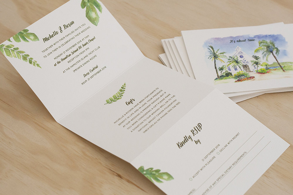 Custom Watercolour Illustration of Wedding Venue Folding Invitation