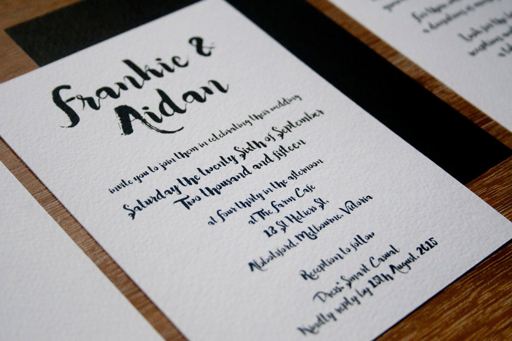 Simple Black and White Wedding Invitation