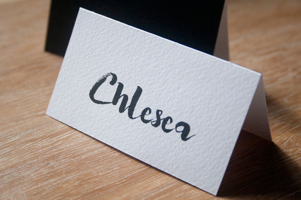 Simple Black and White Wedding Place Card