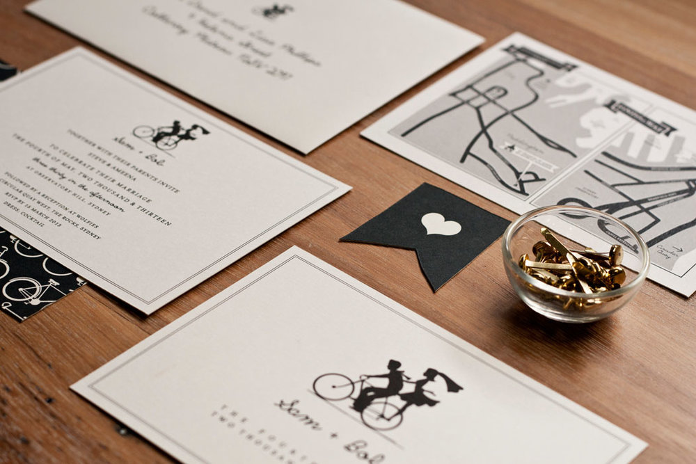 Bicycle Silhouette Wedding Invitation