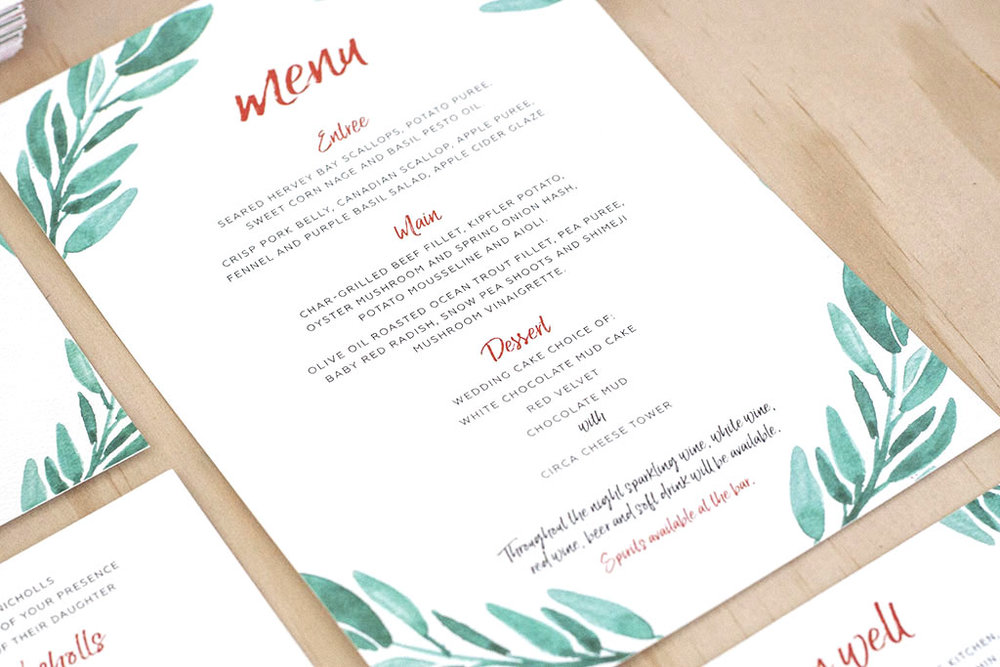 Fox Wedding Watercolour Menus Green Leaves Script Font