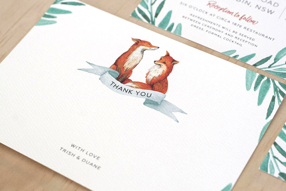 Fox Wedding Watercolour Thank You Cards Green Leaves Script Font
