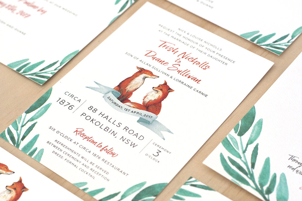 Fox Wedding Watercolour Invitations Green Leaves Script Font