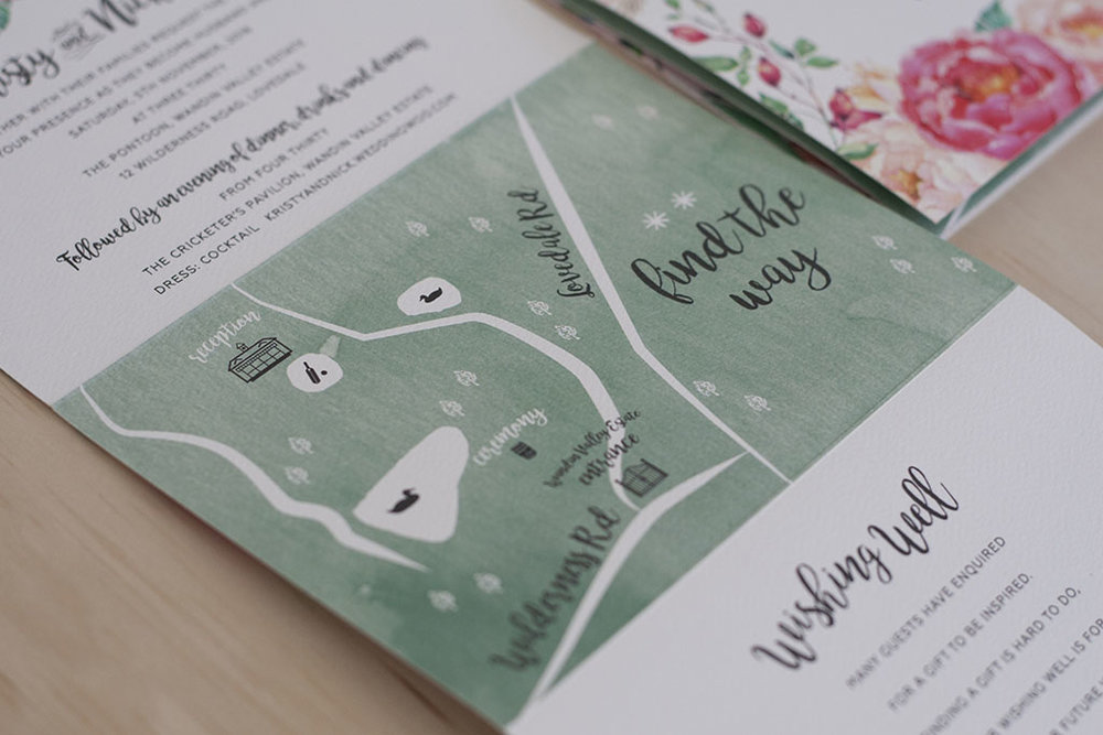 floral spring wedding custom map design