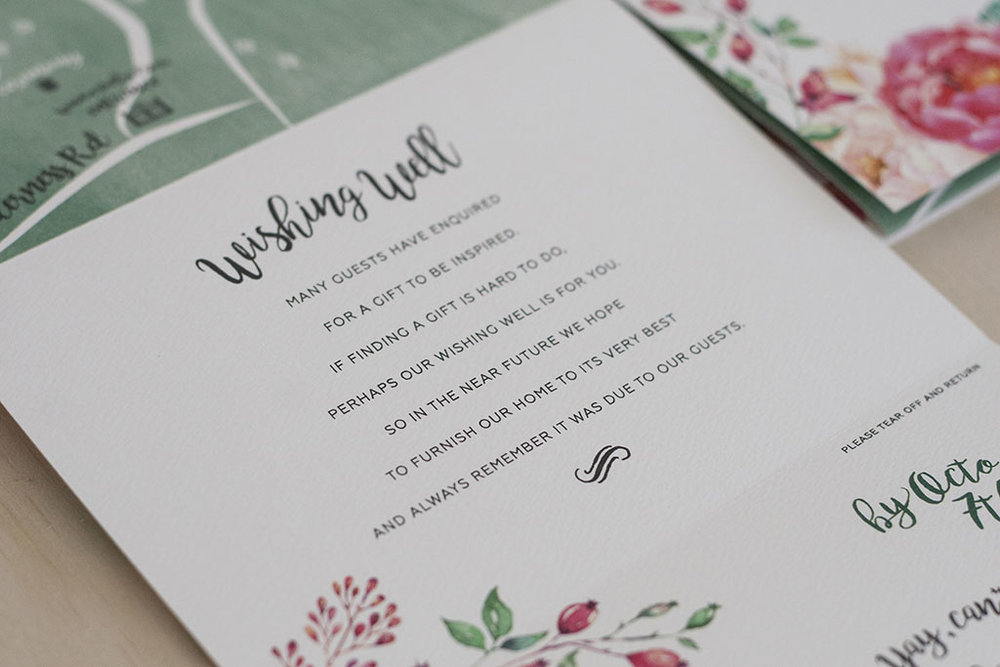 floral spring wedding wishing well card